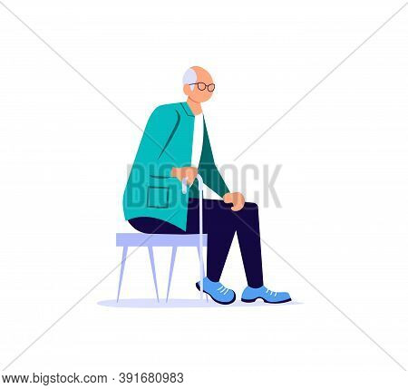 Elderly Man With A Stick Sits To Rest On A Chair. Flat Art Vector Illustration