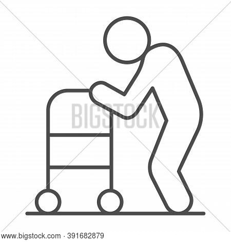 Elderly Man With Paddle Walker Thin Line Icon, Medical Concept, Disabled Person With Walker Sign On