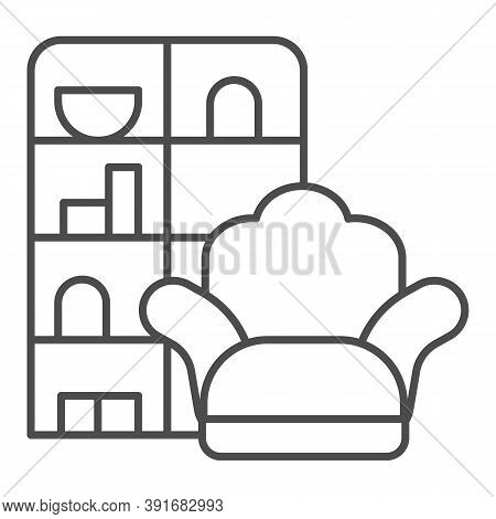 Armchair And Wardrobe Thin Line Icon, Furniture Concept, Living Room Interior Sign On White Backgrou