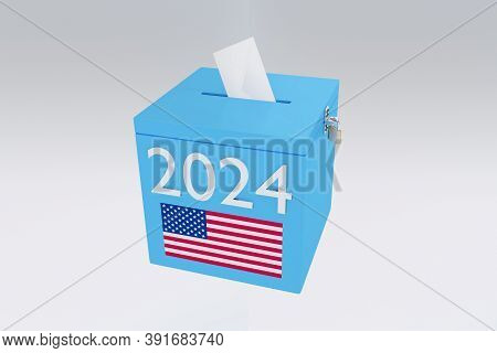 3d Illustration Of 2024 Script On A Ballot Box, And An Voting Envelope Been Inserted Into The Ballot