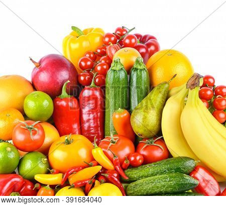 Set bright ripe fruits and vegetables isolated on white background.