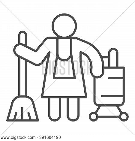 Hotel Maid Thin Line Icon, Cleaning Service Concept, Cleaning Lady Sign On White Background, Housema