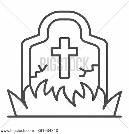 Abandoned Grave Thin Line Icon, Halloween Concept, Grave Overgrown With Grass Sign On White Backgrou
