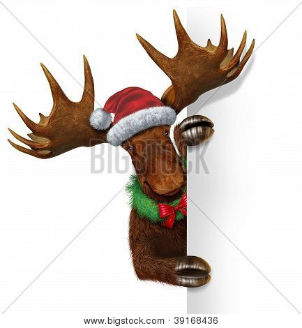 Christmas Moose Blank Sign