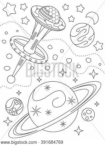 Coloring Page With Space Station, Different Planets, Nebulae And Distant Stars, Black Elements On A