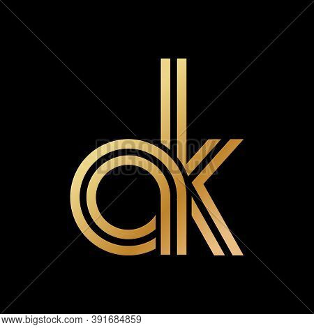 Lowercase Letters A And K. Flat Bound Design In A Golden Hue For A Logo, Brand, Or Logo. Vector Illu