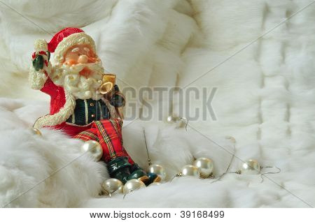 Santa Claus Sitting On White Fur With Pearls