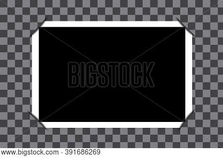 Blank Photo Frame. Vector Of An Old Picture. Vintage Black Image In A White Frame. Stock Image.
