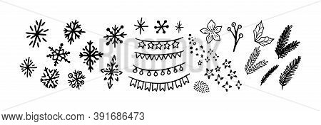 Christmas Doodle Set. Christmas Tree Branch, Snowflakes And Garland. Hand Drawn Xmas Decorations Ico