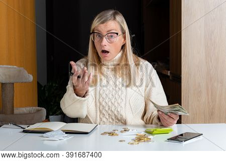 Emotional Freelance Woman Calculating Budget In Home Office, Expense Income And Expenses, Work From