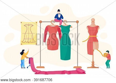 Sewing Workshop With Designers Near Rack With Dresses. Seamstress Measure Dress With Centimeter At M