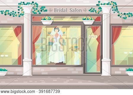 Concept Of Wedding Salon. Facade With White Columns And Big Windows Of Bridal Boutuque. Model In Wed