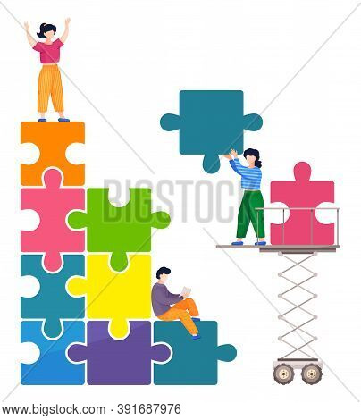 People Connecting Puzzle Elements, Teamwork Business Conception, Colorful Puzzle Pyramid, Using Meta