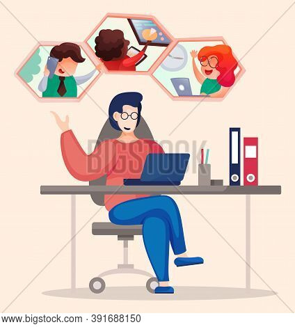 Videoconferencing And Online Meeting Workspace, Teamwork Using Laptop For Collective Virtual Meeting
