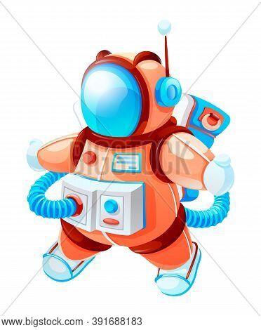 Space Game Element. Cartoon Astronaut In Space Vector Illustration. Cosmonaut In Outer Space. Spacem