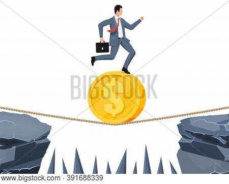 Businessman On Coin Walking On Rope With Suitcase. Business Man Walking On Tightrope Gap. Obstacle O