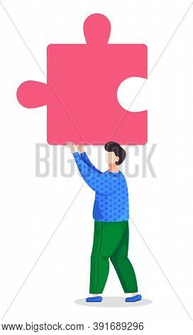 Cartoon Character In Vector Illustration. Man Or Guy Holding Piece Or Element Of Puzzle. Part Of Bus