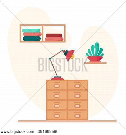 Flat Vector Illustration In Cartoon Style. Wooden Chest Of Drawers With Red Lamp, Shelves With Cloth