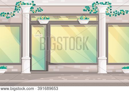 Fashionable Store With Columns And With Open Nameplate On Doors. Outdoor Design Of Expensive Shop. H