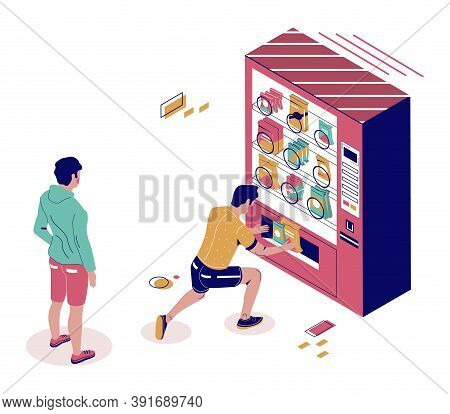 Male Characters Buying Snacks From Vending Machine, Flat Vector Isometric Illustration. Snack Food A