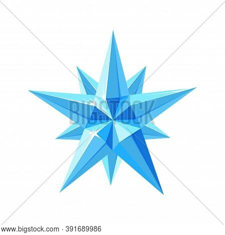 Crystal Star With Sparkling Facets. Shimmering Star Snowflake Made Of Blue Crystals Isolated In Whit