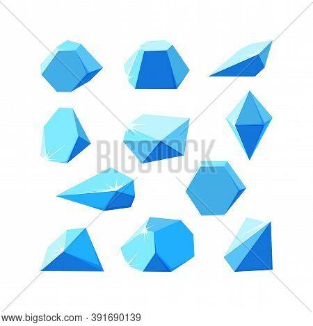 Ice Crystals Broken Into Pieces. Set Of Smashed Blue Crystals. Broken Gemstones Made Of Ice. Vector