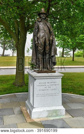 Plymouth, Ma - July 3, 2020: Monument To William Bradford, Governor And Historian Of The Plymouth Co