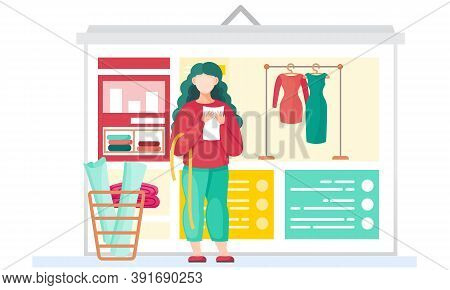 Sewing With Designer Working With A Sheet Of Paper Centimeter. Woman Working On Creating Dresses. Th