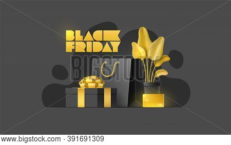 Black Friday Sale Banner With Shopping Bag, Plant, Gold Card, Gift Box On Isolated Background. Group