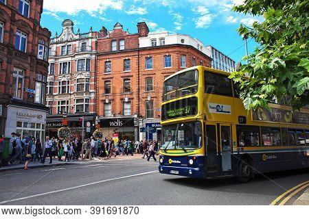 Dublin, Ireland - 03 Aug 2013: The Bus On The Street, Dublin, Ireland