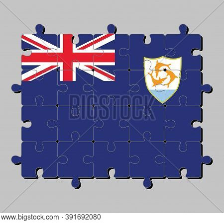 Jigsaw Puzzle Of Anguilla Flag In Blue Ensign With The British Flag And The Coat Of Arms Of Anguilla