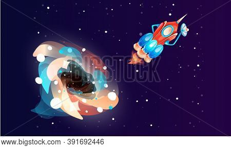 Colored Bright Glow Around A Cosmic Element On A Dark Blue Background With Spaceship. Space Game Ele