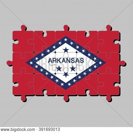 Jigsaw Puzzle Of Arkansas Flag In A Field Of Red And White Diamond, Bordered By Blue And The Word 'a