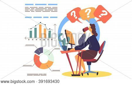 Business Woman At A Table Using Laptop, Doing Homework, Studying, Young Female Works Online. Freelan