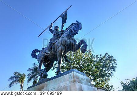 San Diego, California - July 19, 2020: The 23 Foot Tall Statue Of Rodrigo Diaz De Bivar (el Cid) Of