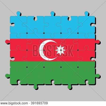Jigsaw Puzzle Of Azerbaijan Flag In Blue Red And Green With A White Crescent And Big Star. Concept O