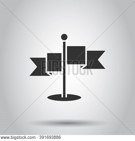 Flag Icon In Flat Style. Pin Vector Illustration On White Isolated Background. Flagpole Business Con