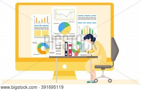 Businesswoman Working And Analyzing Financial Statistics . The Female Marketer Studies Information A