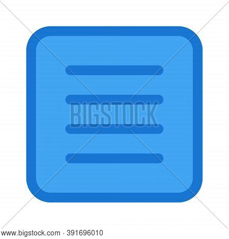 Text Align Justify Icon Isolated On White Background. Text Editor Alignment Button Vector Illustrati
