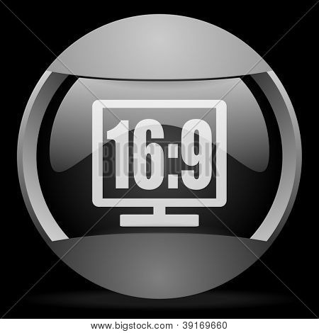16 9 display round gray web icon on black background