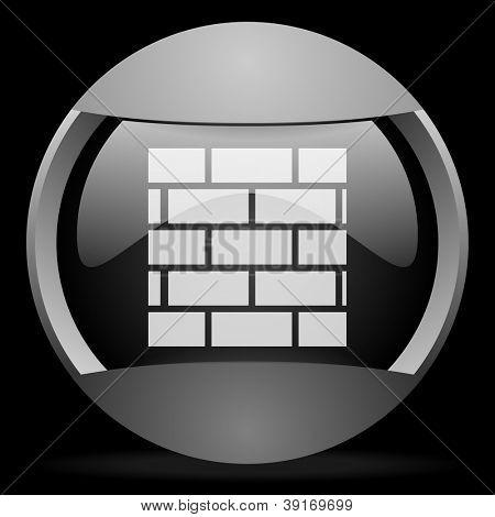 firewall round gray web icon on black background