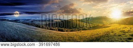 Day And Night Time Change Concept Above Mountainous Countryside Landscape. Panorama Of A Grassy Rura