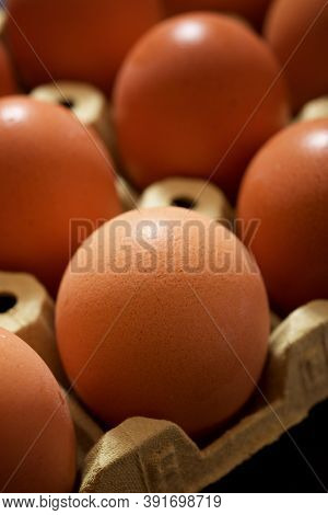 Close-up of eggs on a paperboard.