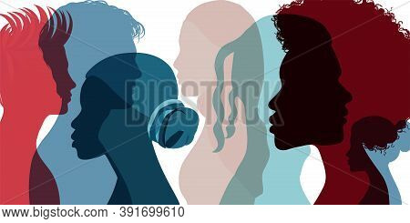 Silhouette Profile Group Of Men And Women Of Diverse Culture. Diversity Multi-ethnic And Multicultur