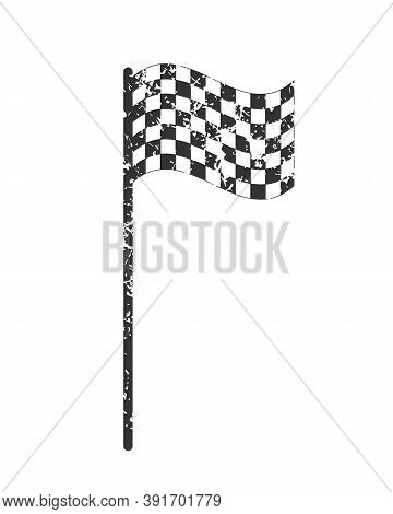 Chequered Flag Icon With Grunge Texture. Checkered Black And White Sign. Check Grid Pattern Poleflag