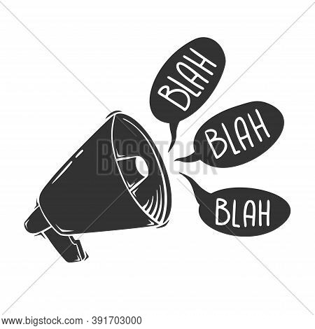 Hand Drawn Vector Of Megaphone With Blah, Isolated On White Background.