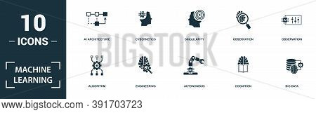 Machine Learning Icon Set. Monochrome Sign Collection With Sensorimotor Skill, Ai Robot, Deep Learni