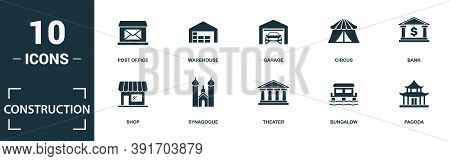 Construction Icon Set. Monochrome Sign Collection With Municipal, Mosque, Railway Station, Lighthous