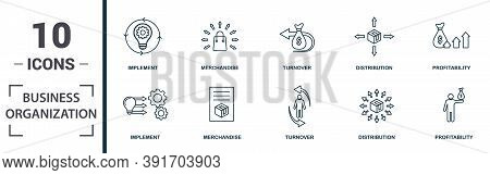 Business Organization Icon Set. Monochrome Sign Collection With Motivation, Process, Collaboration,
