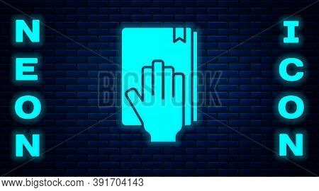 Glowing Neon Oath On The Holy Bible Icon Isolated On Brick Wall Background. The Procedure In Court.